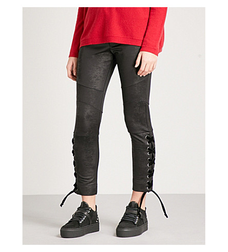 THE KOOPLES Waxed lace-up crepe jogging bottoms (Bla01