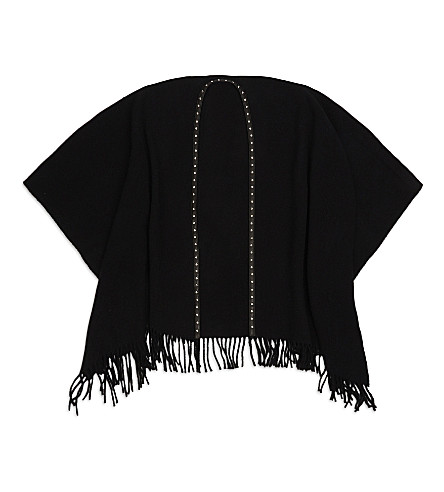 THE KOOPLES Leather-trim wool-blend poncho (Bla01