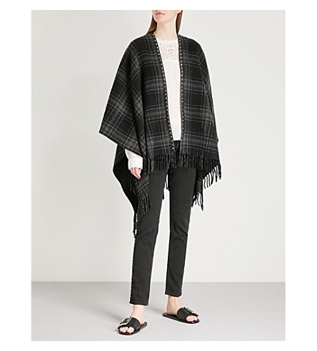 THE KOOPLES Leather-trim wool-blend poncho (Gry01
