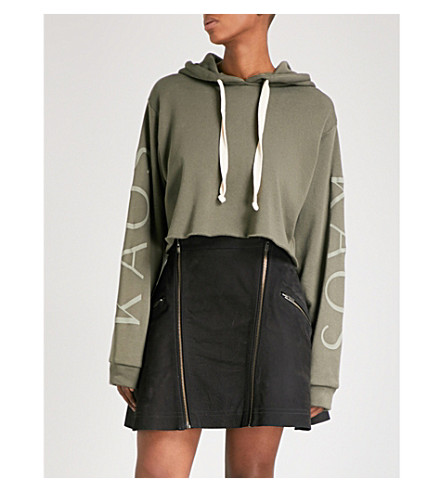 THE KOOPLES Cropped printed modal and cotton-blend hoody (Kak01