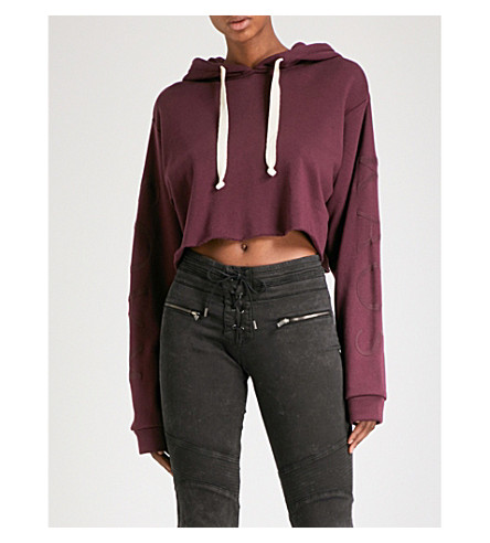 THE KOOPLES Cropped printed modal and cotton-blend hoody (Pur08