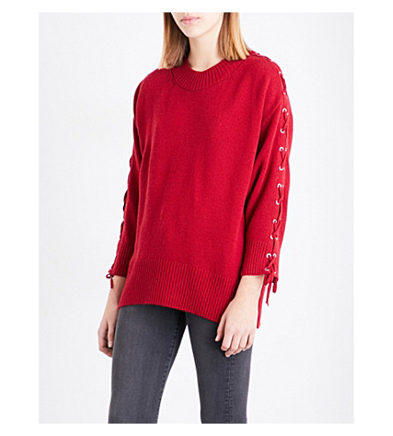 THE KOOPLES Lace-up shoulder wool and cashmere-blend sweater (Red08 0acd8e8de