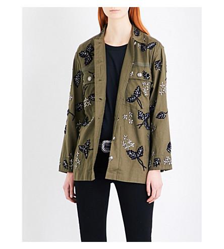 THE KOOPLES Beaded leaf-embellished cotton-twill parka jacket (Kak11