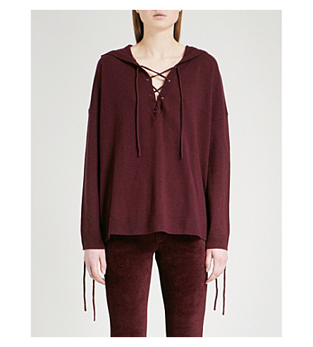 THE KOOPLES Lace-up wool and cashmere-blend jumper (Pur08