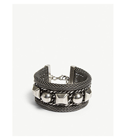 THE KOOPLES Studded mesh metal bracelet (Sil01