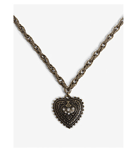 THE KOOPLES Long chain heart pendant necklace (Gol01