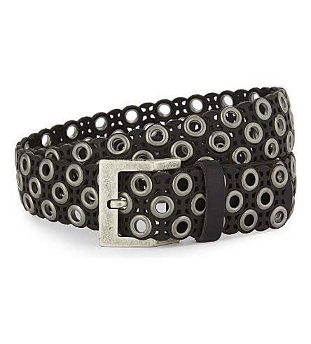 THE KOOPLES Eyelet leather belt (Bla01