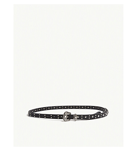 THE KOOPLES Studded skinny leather belt (Red01