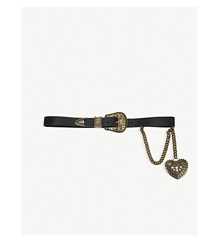 THE KOOPLES Western buckle and heart chain leather belt (Bla01