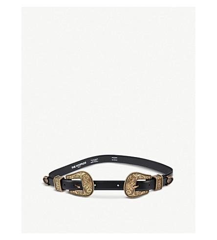 THE KOOPLES Western double buckle leather belt (Bla01