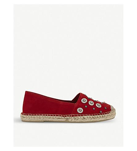 THE KOOPLES Floral-embellished suede espadrilles (Red01