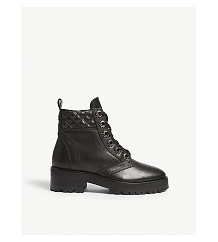 THE KOOPLES Floral stud quilted leather boots (Bla01