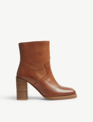 Women'S Square Toe Leather Boots in Brw01