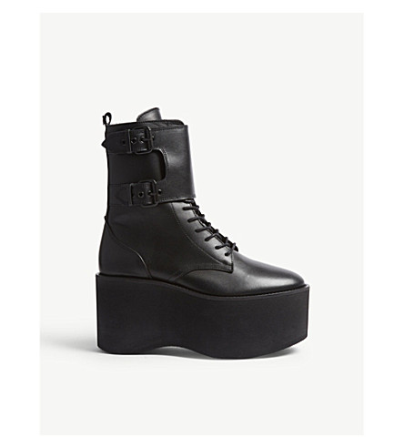 THE KOOPLES 厚底鞋皮革靴子 (Bla01