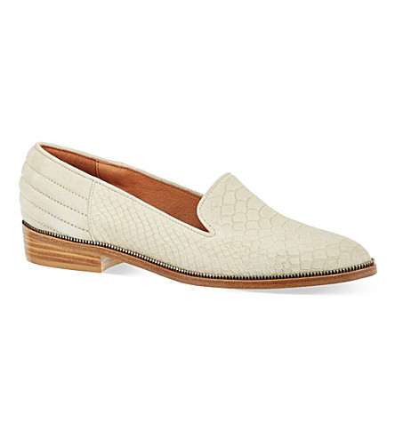 THE KOOPLES Faux python embossed leather slippers (Beige