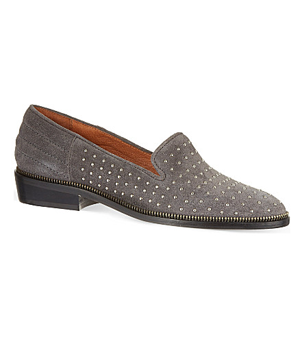 THE KOOPLES Suede studded slippers (Grey