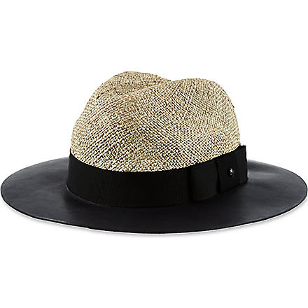 THE KOOPLES Straw hat with leather brim (Natural / black