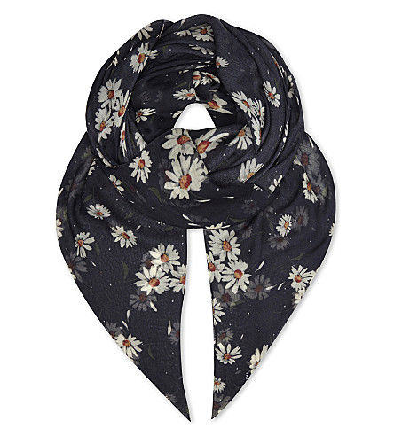 THE KOOPLES Floral modal-silk scarf (Bla01