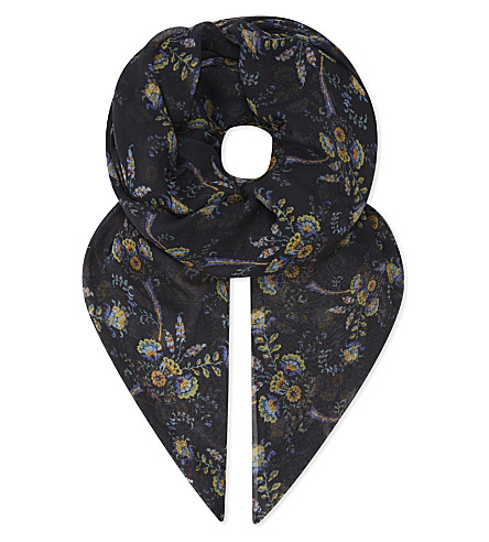 THE KOOPLES Floral-print modal and silk-blend scarf (Nav01