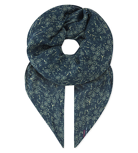 THE KOOPLES Waterlily-print modal and silk-blend scarf (Blu33