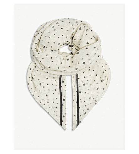 THE KOOPLES Printed modal-blend scarf (Whi12