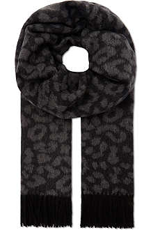 THE KOOPLES Leopard wool scarf