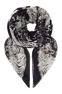 THE KOOPLES SPORT Flowers & tigers printed scarf