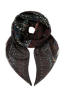 THE KOOPLES Eagle & checks silk scarf