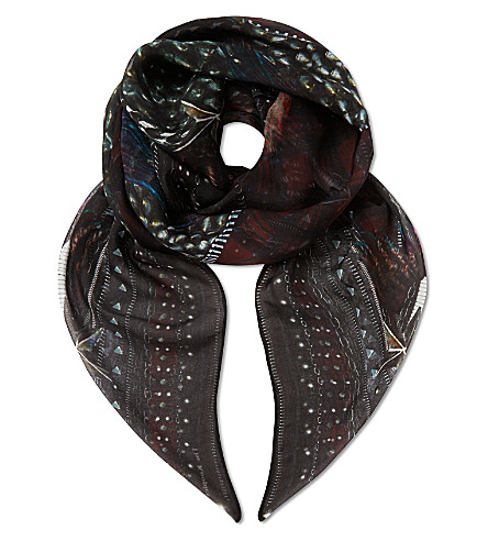 THE KOOPLES Eagle & checks silk scarf (Red