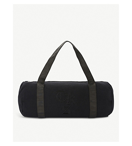 THE KOOPLES Logo-embroidered canvas and leather yoga bag (Bla01