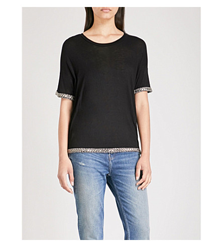 THE KOOPLES Embellished-trim jersey T-shirt (Bla01