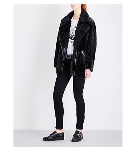 THE KOOPLES Faux-fur oversized jacket (Bla01