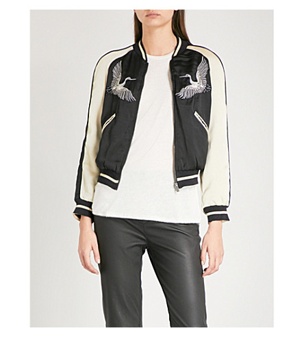 THE KOOPLES Bird-embroidered satin bomber jacket (Bla06