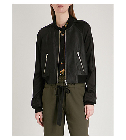 THE KOOPLES Cropped leather and crepe bomber jacket (Bla01