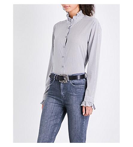 THE KOOPLES Ruffled striped crepe shirt (Bla28