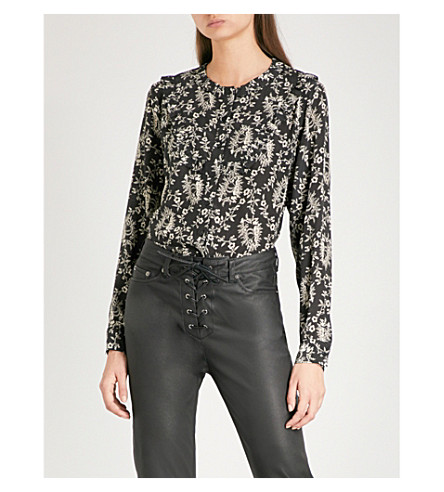 THE KOOPLES Floral and lamb and snake print silk-crepe de chine shirt (Bla01