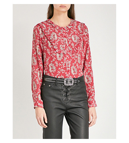 THE KOOPLES Floral-print silk-crepe de chine shirt (Red01