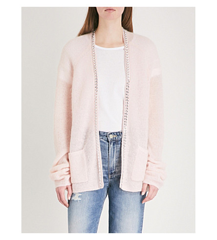 THE KOOPLES Mixed fabric vneck cardigan with bottom (Pin01