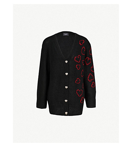 THE KOOPLES Heart-intarsia knitted cardigan (Bla01