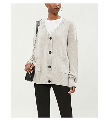 THE KOOPLES 圈形细节羊毛和羊绒混纺开襟衫 (Gry23