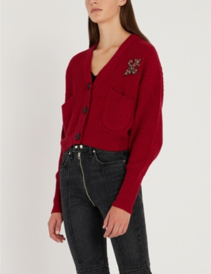 Embellished-Patch Wool And Cashmere-Blend Cardigan in Red01