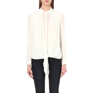 Draped silk-chiffon shirt