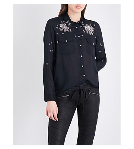 THE KOOPLES SPORT Embellished voile shirt (Bla01