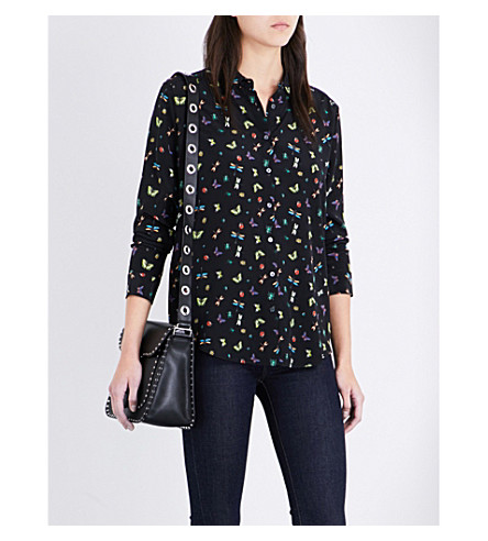 THE KOOPLES Insect-print silk shirt (Bla01