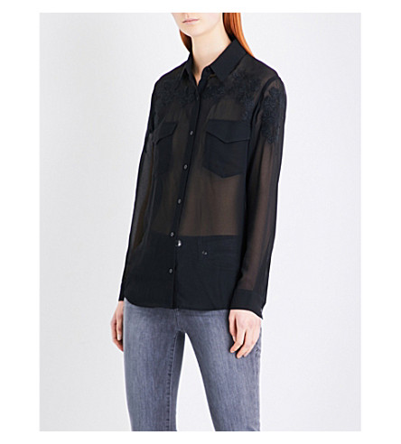THE KOOPLES Embroidered crepe shirt (Bla01