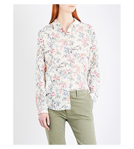 THE KOOPLES Botanic-print silk-crepe de chine shirt (Kak14