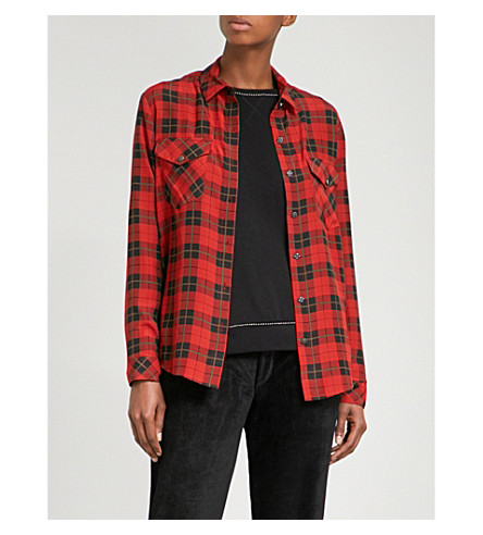 THE KOOPLES Shirt tartan-patterned silk shirt (Red01