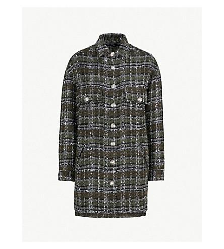 THE KOOPLES Check tweed diamante button shirt (Kak01