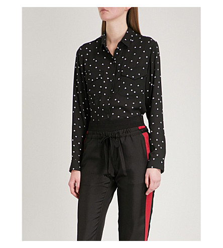 THE KOOPLES Queen of Hearts-print chiffon shirt (Bla01