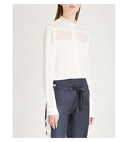 THE KOOPLES Lace-detailed crepe shirt (Ecr01